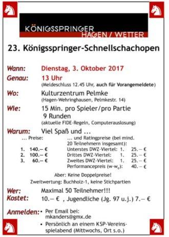 Königsspringer Open 2017 – Schachturnier