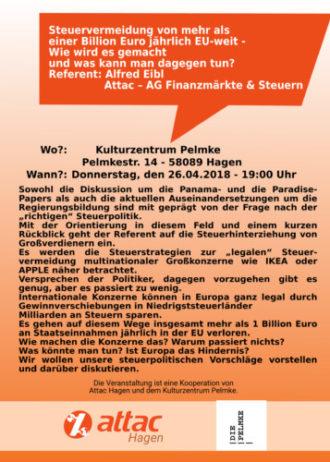 Vortrag und Diskussion: Steuervermeidung in der EU (Abgesagt !)