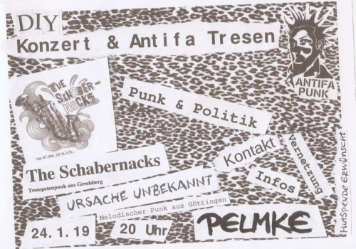 DIY-Konzert & Antifa-Tresen in der Pelmke