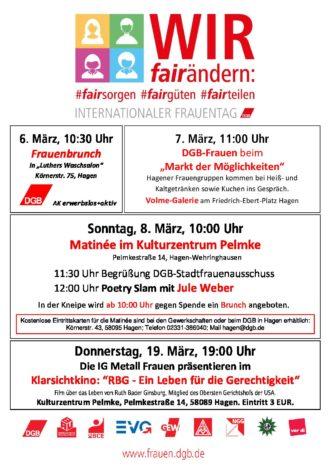 WIR fairändern : Einladung DGB Stadtverband Hagen zum Internationalen Frauentag